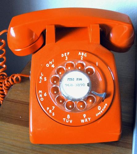 Orange Rotary Phone by redgiantsfan.