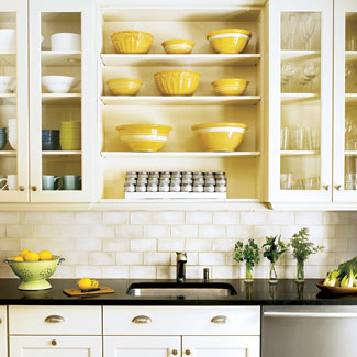 White kitchen + open shelves + subway tile