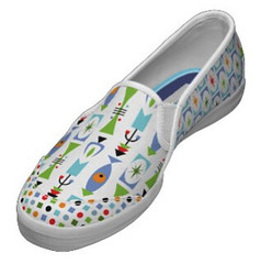 Retro Shape - White- Keds shoes (birdarts) Tags: blue urban white art modern cool patterns illustrations style retro gifts deco sk8 keds tennisshoes zazzle slipon canvasshoes kedsshoes birdarts andibird
