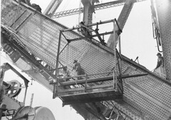 Riggers riveting the red-hot rivets on the lower outside south chord, Sydney Harbour Bridge, 1930-1931 / Sam Hood
