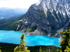 lake louise and Mount Fairview (*Andrea B) Tags: park blue trees summer lake canada mountains colour tree june rock rockies spring view hiking rocky lookout hike mount louise national alberta banff rockymountains lakelouise beehive 2009 fairview banffnationalpark egren