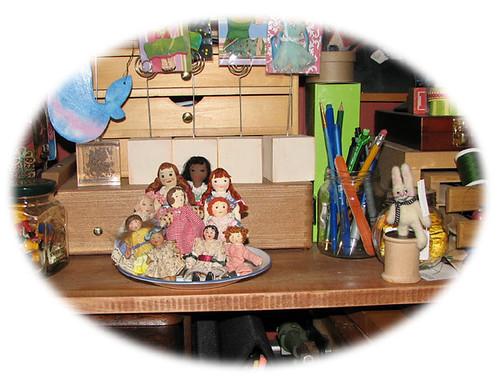 Dish full of dolls