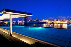 "Andrew ""Boy"" Charlton Pool (TroyV, on iphone) Tags: blue pool skyline swimming cityscape dusk australia swimmingpool sydneyharbour"