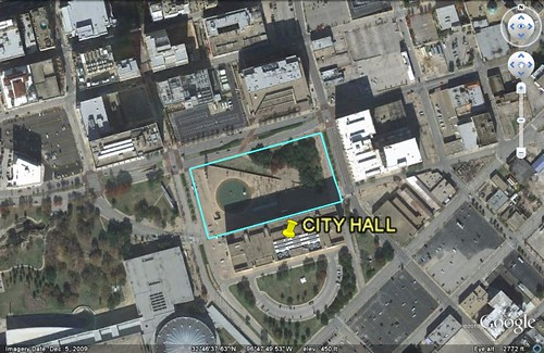 Dallas City Hall & Plaza (via Google Earth)