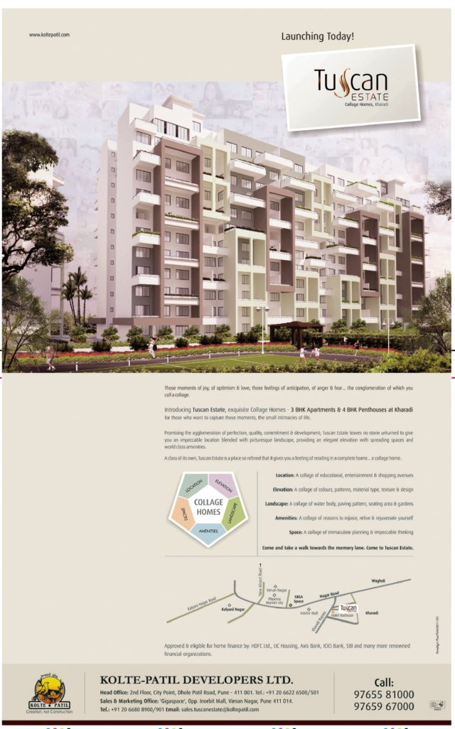 Kolte-Patil Developers' Tuscan Estate at Kharadi Pune - Launch Ad (Friday 6th May 2011 - Pune Times - 14 Anniversary Special) 2