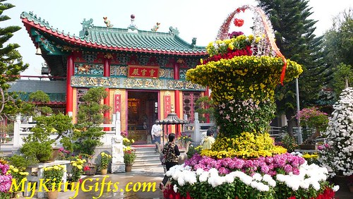 Hello Kitty's View of Temple and Flower Pot of Flowers in Hong Kong Orchid Trip
