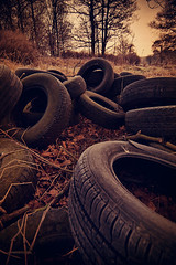 Old rubber (Paul M. Robinson) Tags: uk trees winter england abandoned rural countryside yorkshire rubber pile rubbish wakefield british agriculture tyres tipping denbydale dearneway