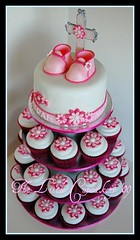Christening Cupcake tower (TheLittleCupcakery) Tags: pink baby white cupcakes cross little baptism daisy christening booties tlc buttercream cupcakery xirj klairescupcakes