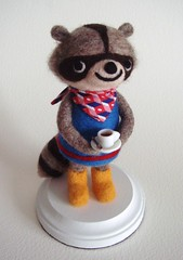 West Seattle Raccoon (feltmates!) Tags: seattle wool coffee felted handmade frenchpress felt kawaii westseattle needlefelting raccoon feltmates