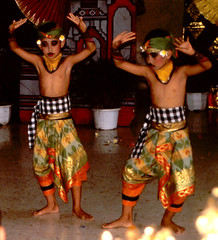 Bali Dancers / Balinese Dance - Boys with Moustaches (Dominic's pics) Tags: bali orange boys yellow indonesia gold golden dance costume with dancers traditional culture slide scan event filter transparency moustaches 1998 noise hindu performer dharma canoscan balinese agama seriousexpression reducenoise balinesedance 8800f agamahindudharma