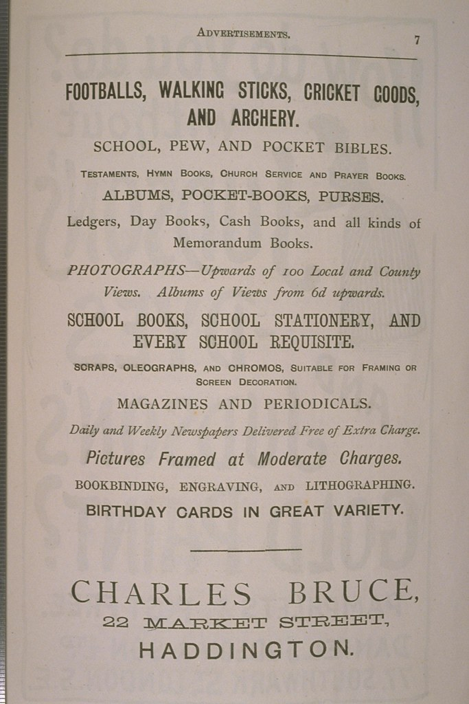 Advertisement from a Haddington guidebook
