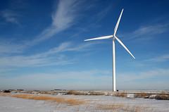 Wind Turbine (Bo Darville) Tags: winter cold green minnesota clouds canon bluesky alternativeenergy polarizer windturbine 30d 1755mm