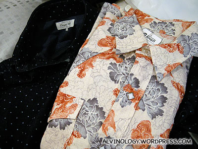 I bought the flower shirt from a second-hand clothing store; the blue shirt was bought at Uniqlo the night before