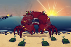 Giant Mutant Crab (sketchy pictures) Tags: beach water monster giant army crab killer huge mutant creature tanks