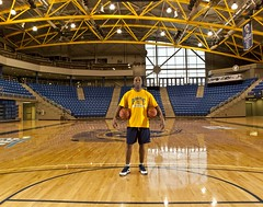 Scott Burrell_2 ((QP)ajq82) Tags: window basketball mediumformat ct highlights basketballcourt quinnipiacuniversity yellowjersy blueshorts nikesneakers mamiya645afdii assistantcoach scottburrell crosslit leafaptus22digitalback c2cbasketball shinycourt lendercourt