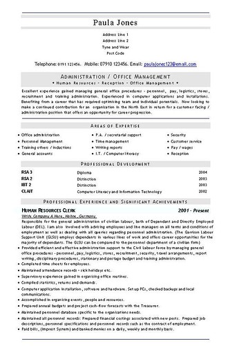 latest curriculum vitae format. Admin Office Management CV and