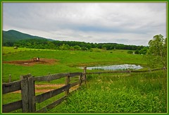 Somewhere In Virginia (Jerry Jaynes) Tags: fence pond farm va lexingtonva nikkor1685vr