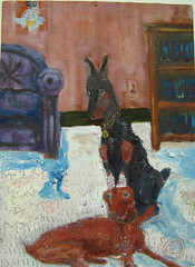 dobes (Beersama) Tags: dog color history texture field painting happy flat path small warped dreaming oil expressionism layers depth oneric warmplace