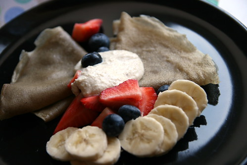 Marmalade Crepes with Fruit and Cashew Cream