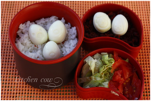 Bento with Cute Quail Eggs
