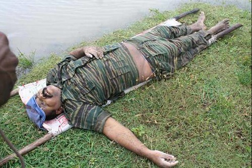 Tamil Tiger leader Velupillai Prabhakaran in death