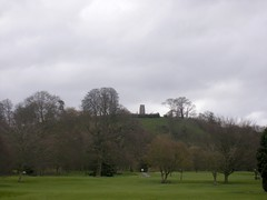 Glastonbury Tor - distant view of St Michaels ...