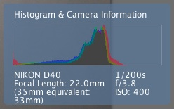 Exposure Histogram of 0 EV Dishcloth Pic