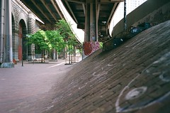 Brooklyn Banks, North Bank (Shawn Hoke) Tags: nyc film skateboarding leicam6 fujisuperia400 brooklynbanks zeiss35mmf2 shawnhoke