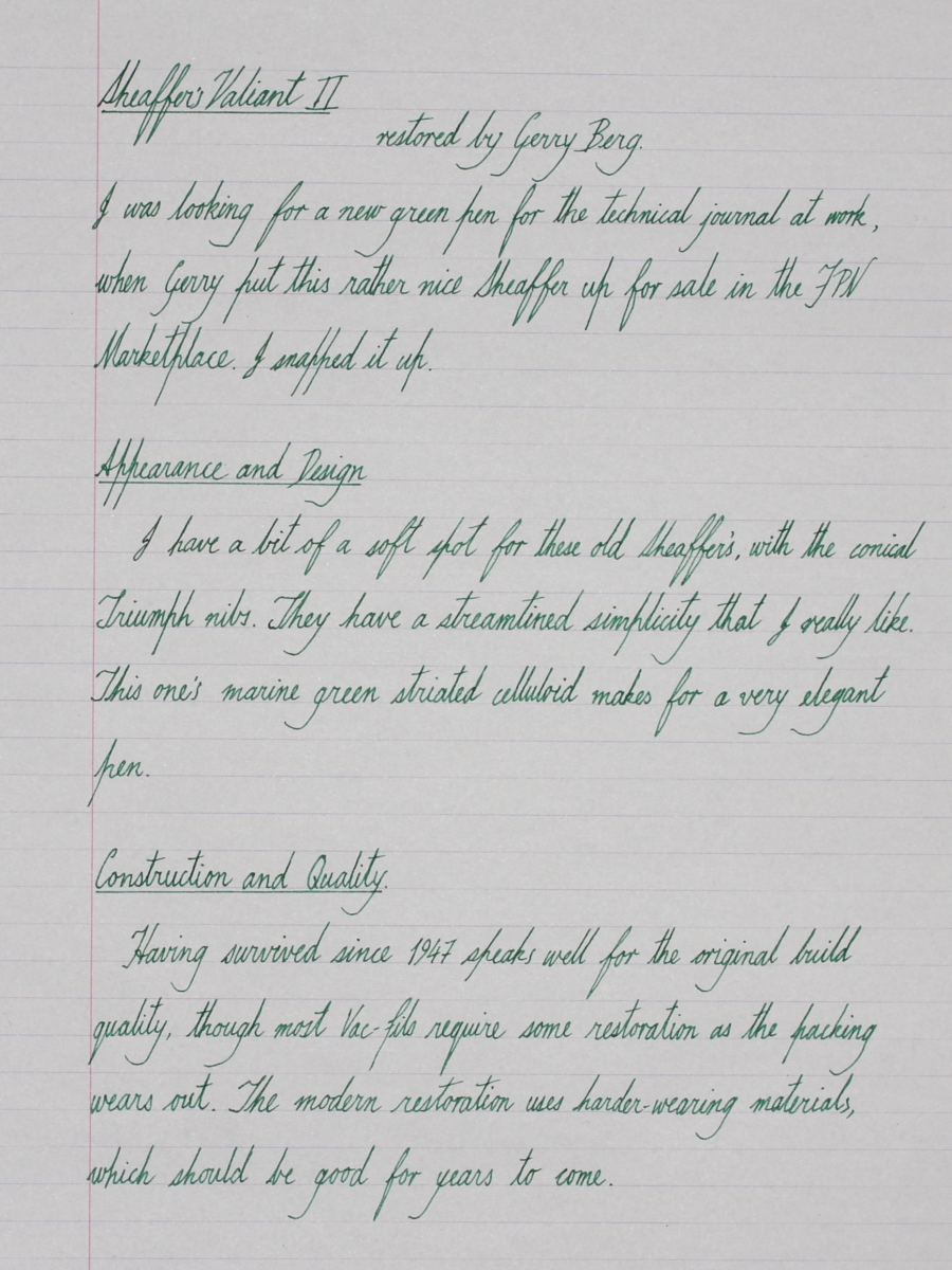 Sheaffer's Valiant II - Fountain Pen Reviews - The Fountain