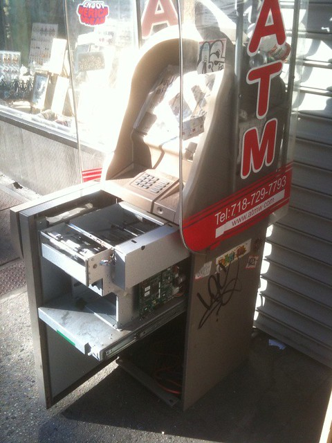 what a street ATM looks like open and probably robbed #walkingtoworktoday