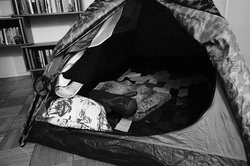 apartment tent! (b/w)