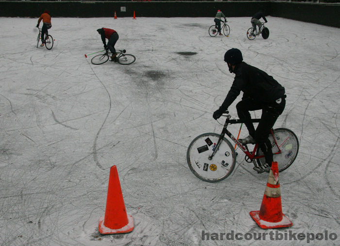 hardcourt bike polo full court snow