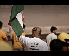 Do I need to say more....I luv u Mumbai!!! - Mumbai Marathon, 2009 (SandeepRathod) Tags: india nikon marathon flag indian muslim unity culture christian harmony bible geeta nikkor gita mumbai 70300mm hindu 2009 quran d60