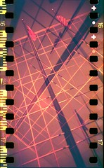 Cross Bars (zach-o-matic) Tags: film analog america 35mm austin holga doubleexposure flag toycamera americanflag multipleexposure austintexas 35mmfilm analogphotography brackets plasticcamera austintx multiexposure sprockets holga35mm plasticlens flagpost toyphotography redscale