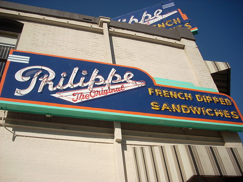 Philippe The Original's iconic neon sign. Home of the French dip sandwich and the nine cent cup of Yuban. Photo by LA Wad via Flickr.