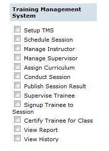 Screenshot showing new set of roles of Training Management System
