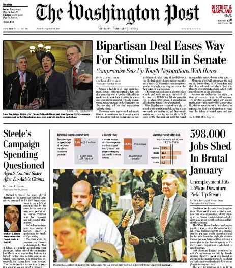 Feb 7 WaPo Front Page Stimulus Bill Compromise Story by MyEyeSees