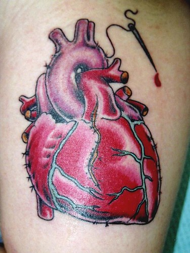 Anatomical heart tattoo by street anatomy