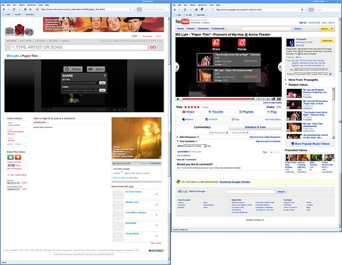 Comparison, MC Lyte on MTVMusic.com and YouTube.com