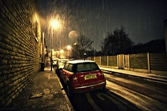 (andrewlee1967) Tags: road street uk houses england urban snow cars night fence britain streetlamps pavement terraces wideangle mini gb minicooper sleet stalybridge sigma1020mm 10mm andrewlee 50d tameside mywinners andrewlee1967 canon50d