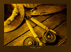 Memories (Imapix) Tags: stilllife fish canada art nature hat sepia canon poster photography photo fishing foto photographie image quebec qubec flies reel pche imapix fishingrods gaetanbourque pchelamouche supereco flyfiishing flyfishingreels imapixphotography gatanbourquephotography