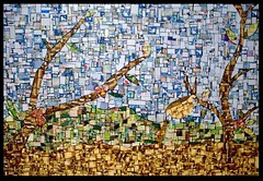 coffee mosaic (Jupita) Tags: art recycled mosaic starbucks recycledart recycle reuse upcycle upcycled starbuckscard plasticcard upcycledgiftcard repurposedgiftcards