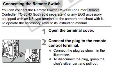 Connecting the Remote Switch, as described on page 100 of the Canon 5D Mark II Manual