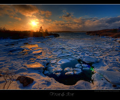 Fire & Ice (Dave the Haligonian) Tags: ocean sunset sea snow canada ice water night clouds evening frozen nikon novascotia dusk sigma atlantic maritime 1020mm hdr fireice d90 lowerprospect great123 dsc616456tif