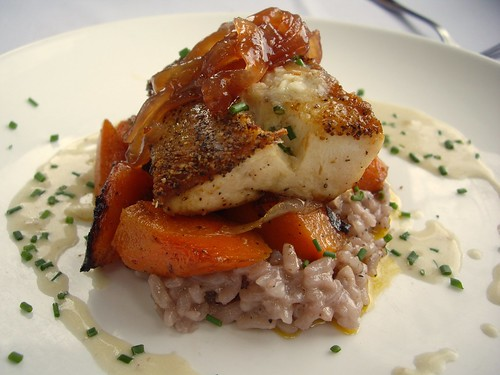 Pan Roasted Cobia with Brie-enriched Risotto, Candied Carrots, and Pink Peppercorn Vermouth Butter Sauce