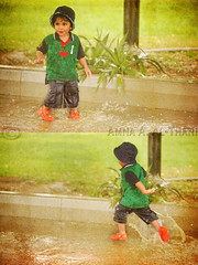 (A.A.A) Tags: family boy playing cute texture love rain by vintage photography kid diptych play running run textures nephew enjoy splash sheikh aaa doha qatar amna irresistible jassim abdulaziz rayyan althani alrayyan hawaalrayyanfav april32009