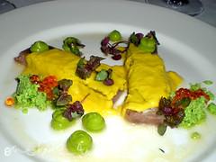tuna with sweetcorn puree