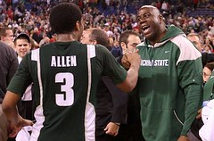 Magic Johnson congratulates the Spartans (by: Chris Chambers)