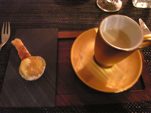 Artichoke veloute and quail egg ravioli