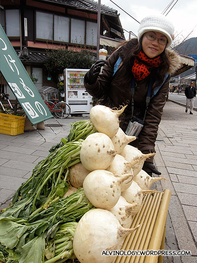 A roadside stall selling giant turnips
